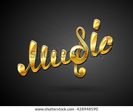 golden music logo on black