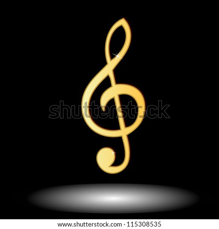 Golden music note button on a black background - stock vector