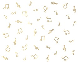 golden music notes pattern- vector illustration