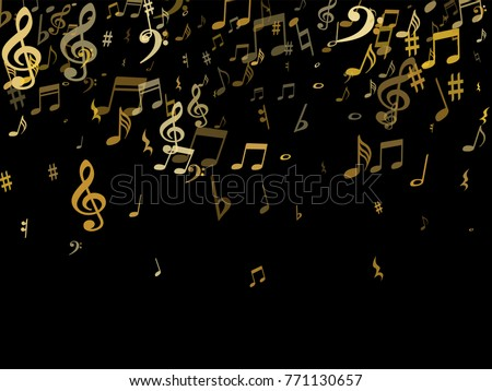 golden musical notes flying