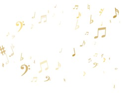 Golden musical notes flying isolated on white background. Stylish gold musical notation symphony signs, notes for sound and music. Metallic vector symbols for melody recording, prints and back layers.