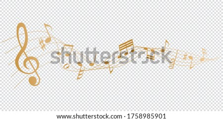golden musical notes melody on transparent background Stock photo ©