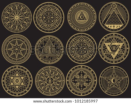 Golden mystery, witchcraft, occult, alchemy, mystical esoteric symbols. Witchcraft mystery emblem collection, magic religion tattoo. Vector illustration