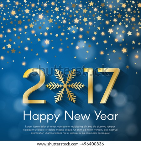 Golden New Year 2017 concept on blue blurry starfall background. Vector greeting card illustration with golden numbers and snowflake
