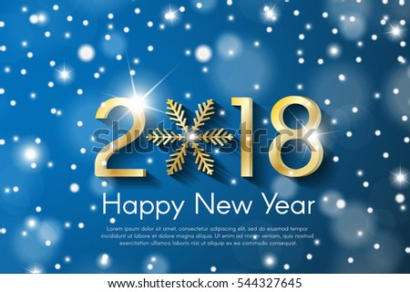 Golden New Year 2018 concept on blue snow blurry background. Vector greeting card illustration with golden numbers and snowflake