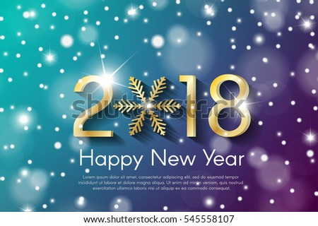 Golden New Year 2018 concept on cyan and violet snow blurry background. Vector greeting card illustration with golden numbers and snowflake