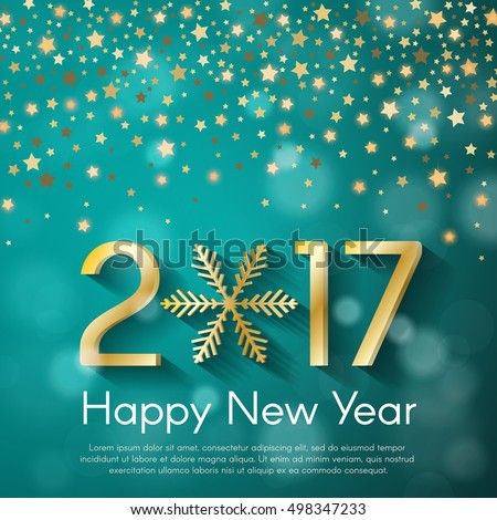 Golden New Year 2017 concept on turquoise blurry starfall background. Vector greeting card illustration with golden numbers and snowflake