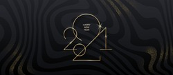 Golden 2021 New Year logo on black striped background with glitter gold. Holiday greeting card. Vector illustration. Holiday design for greeting card, invitation, calendar, etc.