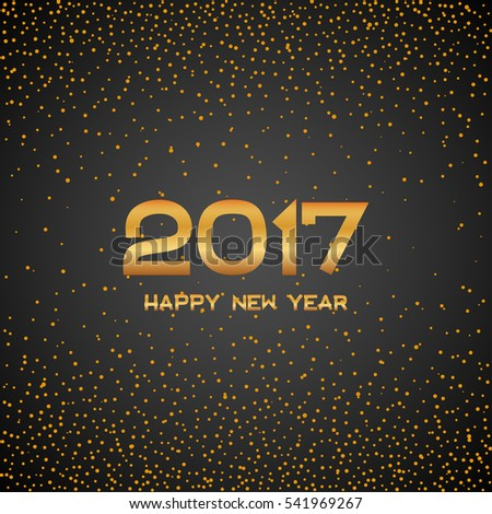 Golden New Year 2017 particles background. Gold circle dot number. Vector eve sparkle elements for celebration eps10 #541969267