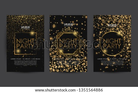golden night club party poster template for club party flyer, colorful sparkle with black background