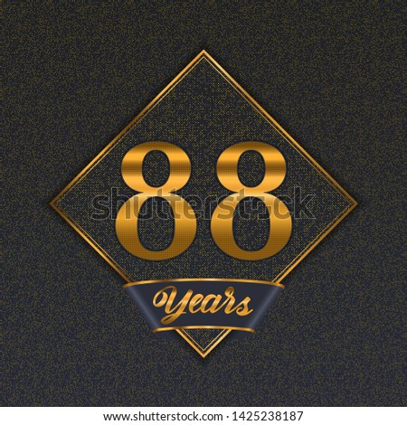 Golden number  eighty-eight years (88 years) celebration design. Anniversary golden number with luxury background for your birthday party