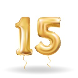 Golden number fifteen metallic balloon. Party decoration golden balloons. Anniversary sign for happy holiday, celebration, birthday, carnival, new year. Metallic design balloon.
