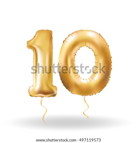 Golden number ten metallic balloon. Party decoration golden balloons. Anniversary sign for happy holiday, celebration, birthday, carnival, new year. Metallic design balloon.