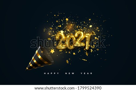 Golden 2021 numbers, party popper cone and glittering confetti isolated on black. Vector festive illustration. Holiday decoration with sparkling tinsel particles. Happy New Year