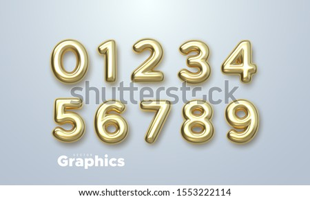 Golden numbers set. Vector 3d illustration. Realistic shiny characters. Isolated digits. Decoration elements for banner, cover, birthday or anniversary party invitation design