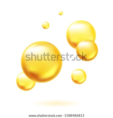 Golden oil bubbles. Capsules pills omega-3, fish oil or vitamins A, E, D. Concept of beauty and health. Vector illustration isolated on white background
