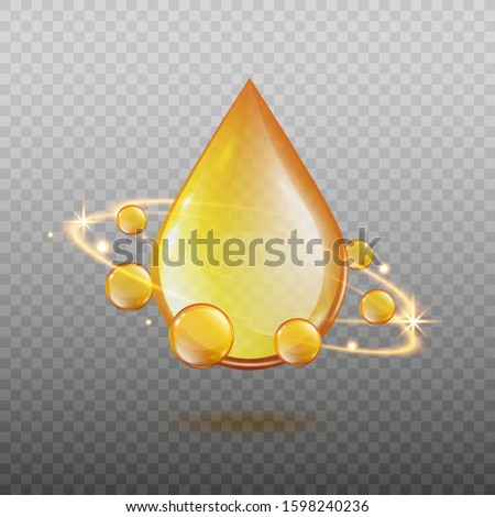 Golden oil drop with magic light energy swirl surrounded by sphere gold droplets. Realistic cosmetic essential oil or omega 3 vitamin ad element - isolated vector illustration Сток-фото ©