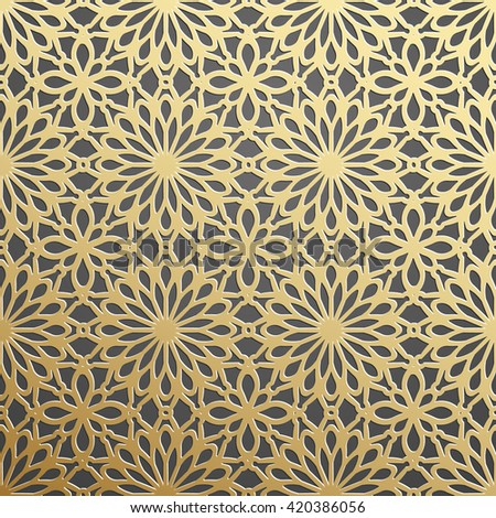 stock vector golden on dark backdrop seamless geometric pattern tiled background with oriental motif d 420386056 - Каталог — Фотообои «3D Текстуры»