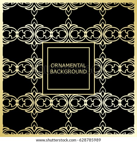 Golden ornamental background with vintage ornament. Template for design #628785989