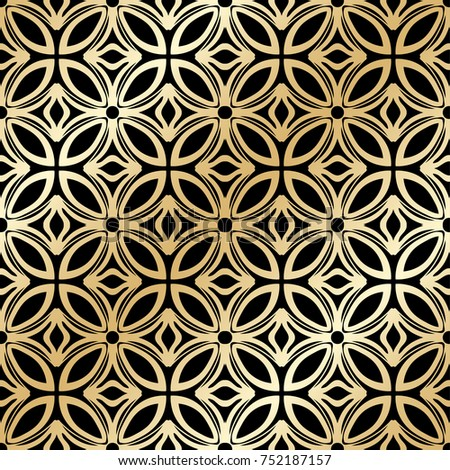 Golden ornamental seamless pattern. Template for design. Vector illustration