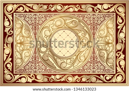 Golden ornate decorative vintage design