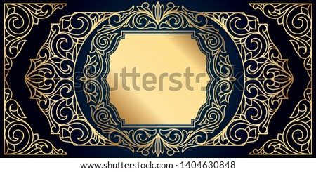 Golden ornate decorative vintage design card