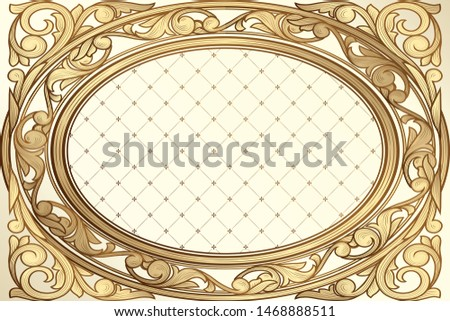 Golden ornate decorative vintage design frame