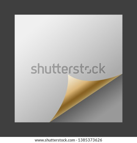 Golden Page Curl Vector, Page Curl Corner Vector, Page Fold Blank Vector