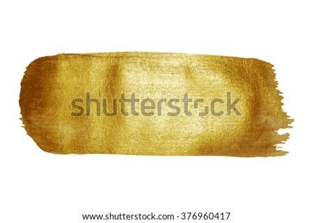Golden paint brush stroke texture stain background vector illustration. #376960417