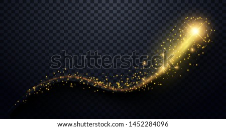 Golden particles wave. Sparkle stardust. Golden glittering magic vector waves with gold particles isolated on black background. Vector illustration