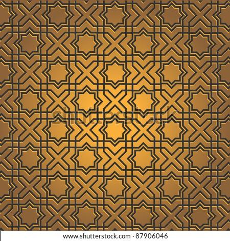 Golden pattern on islamic motif.  Vector illustration