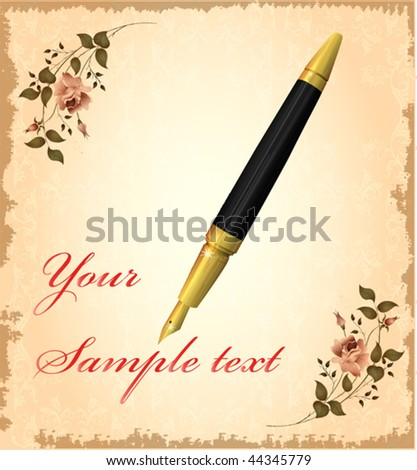 golden pen over vintage background EPS 10