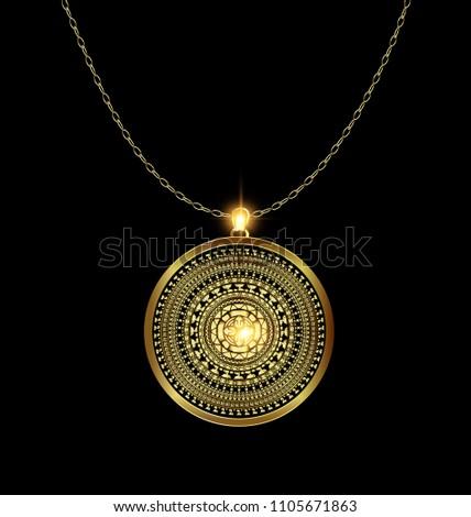 golden pendant medal
