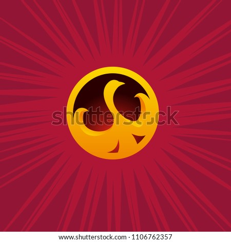 Stock Photo Golden Phoenix logo. 3d stylized symbol. Element for branding and idetity. Bird in the circle.