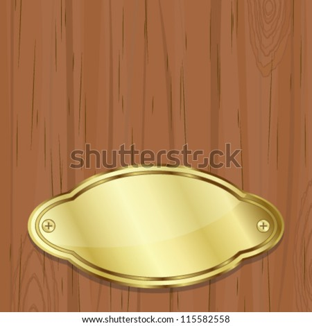 Golden plate over wood - stock vector