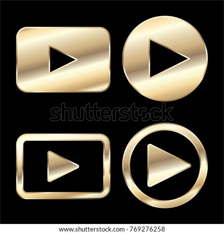 Golden play button icon vector