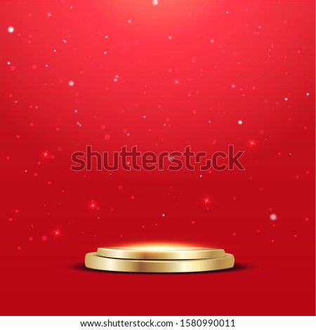Golden podium chrismas with a spotlight and bokeh on a red background, the first place, fame and popularity. Vector illustration.