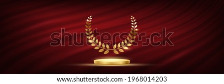 Golden podium for first place with laurel wreath. Gold rank on stage on red curtain background. Championship in sport or movie victory in competition vector illustration.