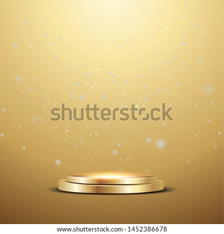Golden podium with a spotlight and bokeh on a gold background, the first place, fame and popularity. Vector illustration. - Vector