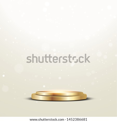 Golden podium with a spotlight and bokeh on a white background, the first place, fame and popularity. Vector illustration. - Vector