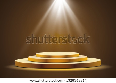 Golden podium with a spotlight on a dark background, the first place, fame and popularity. Vector illustration.