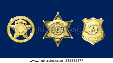 Golden police and sheriff badges on dark blue background