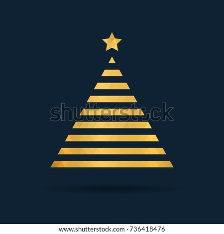Golden polygon tree icon. Xmas minimalistic design. #736418476