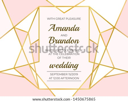 Golden polygonal frame. Elegant wedding invitation border, line luxury geometric template. Vector decoration luxury design invitation card
