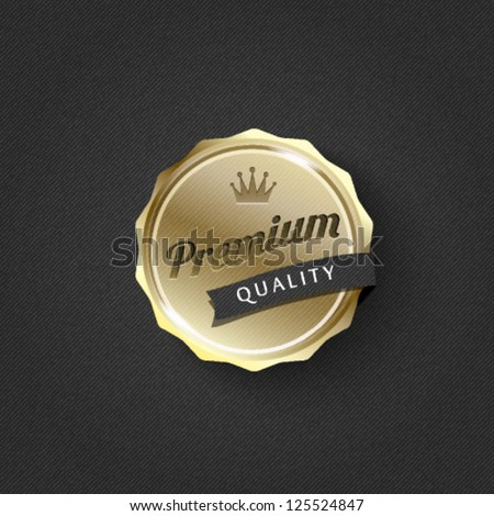 golden premium badge on striped pattern background-vector