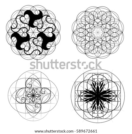 Golden Ratio A Set Of Elements Sacred Geometry Crossing Lines Intersecting Circles