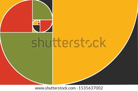 Golden Ratio Fibonacci Spiral vector abstract illustration made  in Pan African colors. Pan-Africanism Golden Ratio Spiral of Fibonacci.