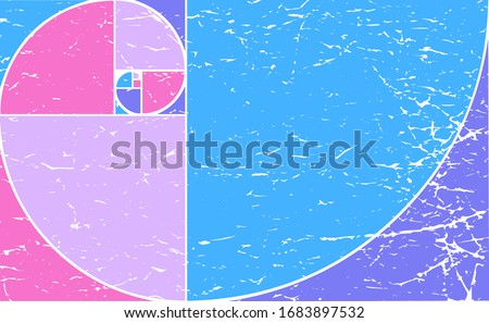 Golden Ratio Fibonacci Spiral vector abstract illustration made in Psychedelic colors. Psychedelic Golden Ratio Spiral of Fibonacci pattern.