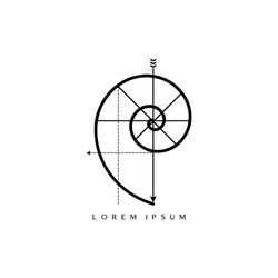 Golden Ratio For Logos. Fibonacci Spiral Logo. Minimalist Golden Spiral Vector Logo