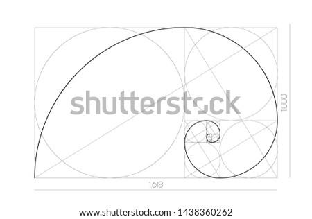 Golden ratio geometric concept. Fibonacci spiral. Vector illustration